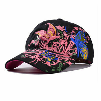 AKIZON Baseball Cap For Women With Butterflies And Flowers Embroidery Adjustable 6