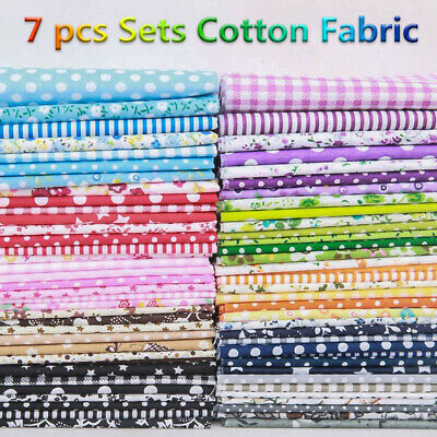 7Pcs 100% Cotton Fabric Assorted Pre-Cut Bundle DIY Decor 25cm CHRISTMAS GIFT 11