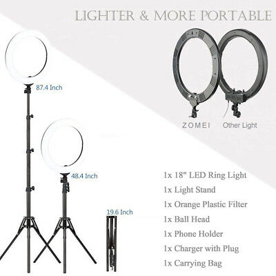 """18"""" LED SMD Ring Light Kit with Stand Dimmable 5500K for Makeup Phone Camera 9"""