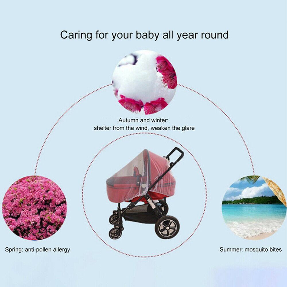 Anti Mosquito Fly Insect Net Mesh Buggy Cover For Stroller Pushchair Pram Hot 4
