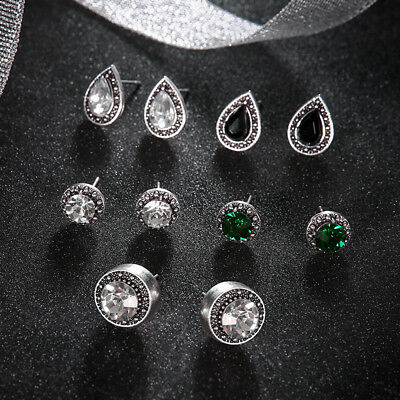 5 Pairs Bohemian Crystal Stud Earrings Cubic Zirconia Water Drop Earring Jewelr 4