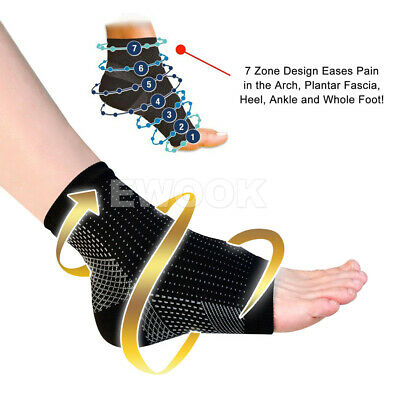 2 Pair Foot Sleeve Plantar Fasciitis Compression Socks Achy Swelling Heel Ankle 2