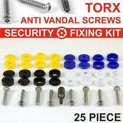 25x Number plate security screws Blue Yellow White Black CAPS HINGED FIXING Kit