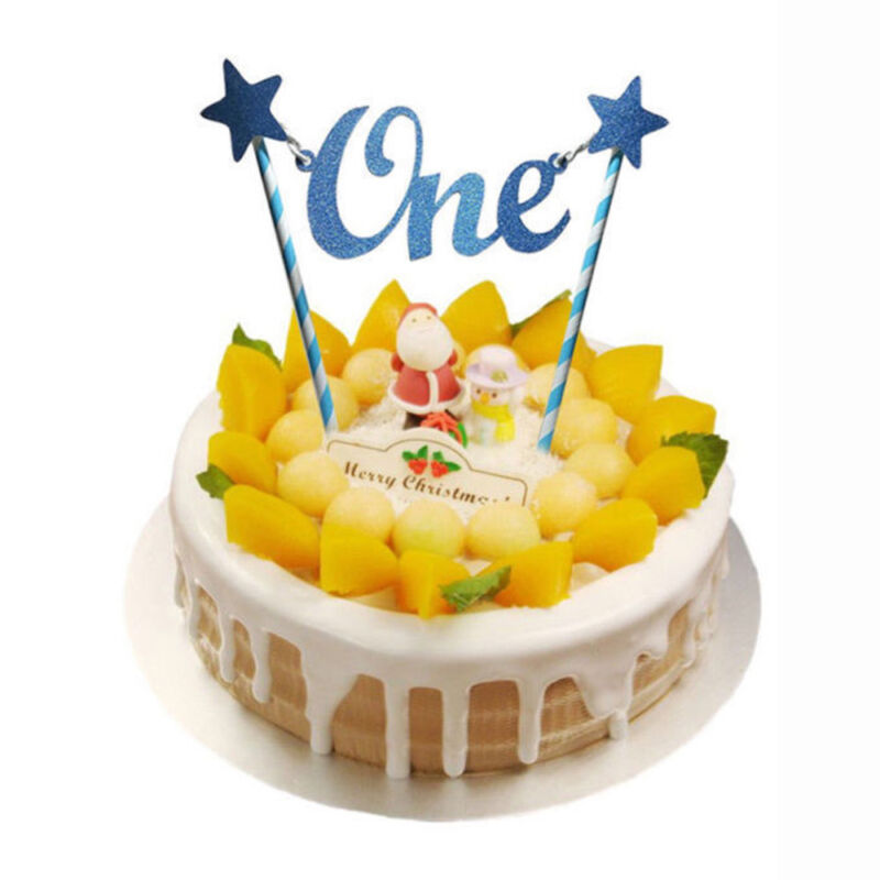New Baby Glitter Star One Cake Topper 1st Birthday Girls Boy Party Decoration 9 Of See More