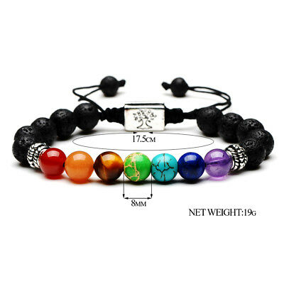 7 Chakra Yoga Natural Stone Beaded Cubic Tree Of Life&3D Charm Braided Bracelet 7