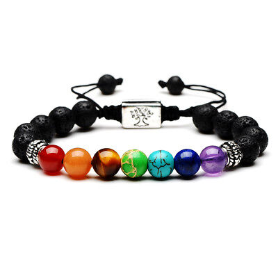 7 Chakra Yoga Natural Stone Beaded Cubic Tree Of Life&3D Charm Braided Bracelet 5