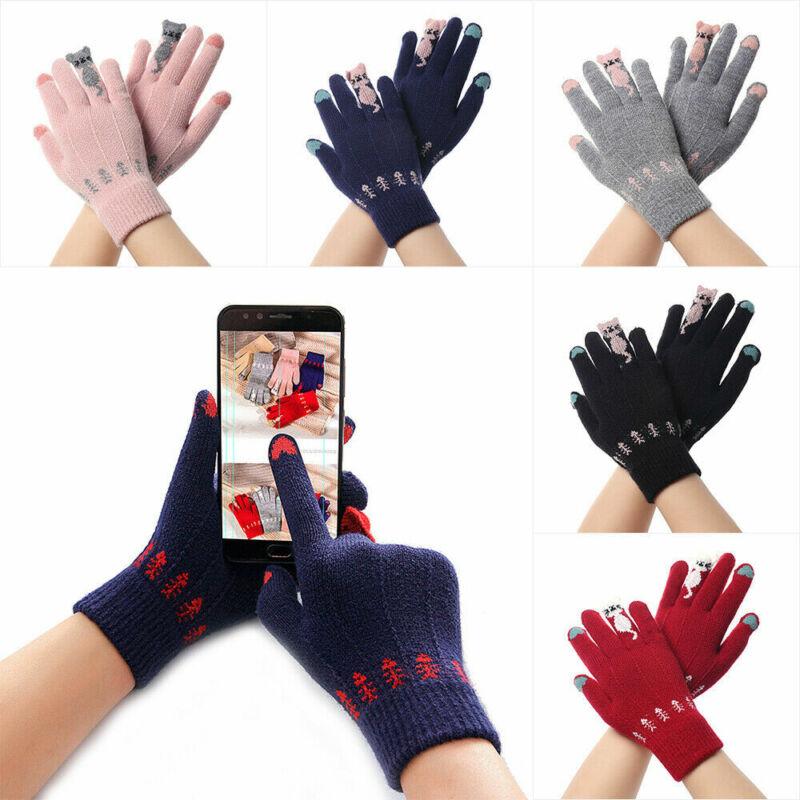 Cartoon Cute Cat Winter Warm Knitted Gloves Full Finger Touch Screen Mittens NEW 2