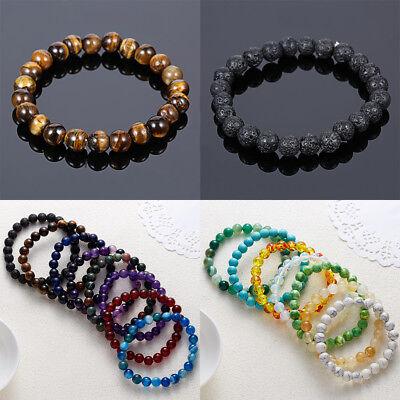 Natural Stone Bead Bracelet Men Women Tiger Eye Turquoise Bangle Jewelry Gift 9