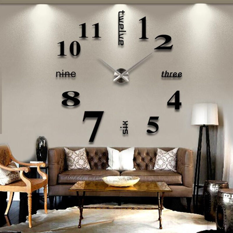 3D DIY Wall Clock Large Luxury Mirror Design Home Decoration Black & Silver 3