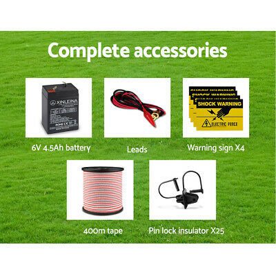 New 5km Solar Power Electric Fence Charger Kit Farm Fencing Tape Insulator Sign 7