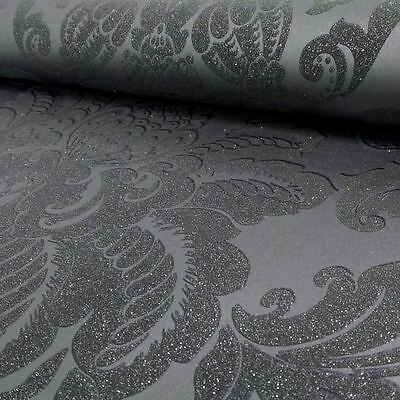 Precious Metals Glisten Damask Wallpaper - Gunmetal Grey - Arthouse 673201 New