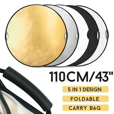 110CM 5in1 STUDIO PHOTOGRAPHY PHOTO COLLAPSIBLE LIGHT REFLECTOR & HANDLE GRIP AU 3