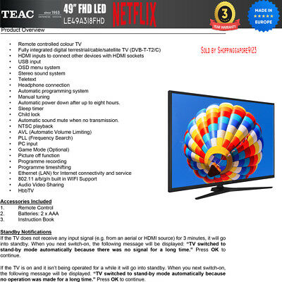 """TEAC 49"""" Inch FHD SMART TV Netflix Youtube Freevie Made In Europe 3Year Warranty 4"""