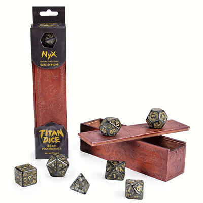 Titan Dice: Nyx | 7 Giant Polyhedral Dice Set in Wooden Box | 25mm Jumbo Dice 7