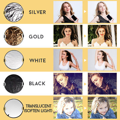110CM 5in1 photo reflector With Handle Grip Studio Photography Light Collapsible 11