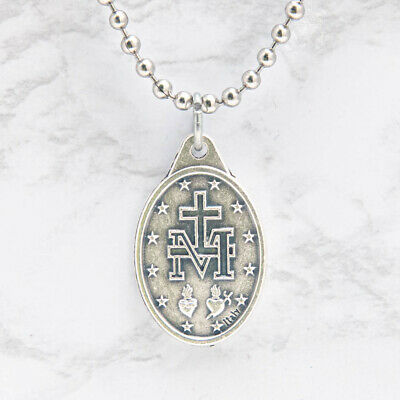 "Miraculous Medal Virgin Mary Pendant Necklace 24"" Chain Italy Silver Tone Alloy 4"