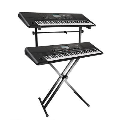 Pro Adjustable 2-Tier X Style Dual Keyboard Stand Electronic Piano Double New 2