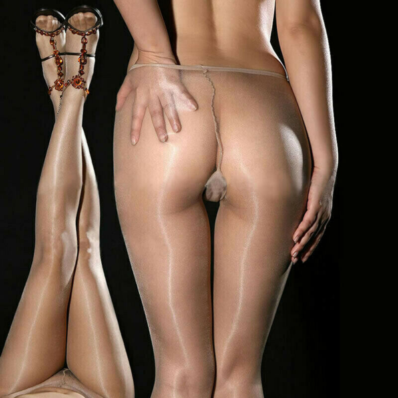 Seamless Women Pantyhose Stocking Oil Glossy Shiny Sheer Tights Crotch/Crotchles 7