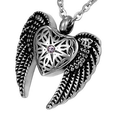 Angel Heart & Wings Cremation Jewelry Ashes Keepsake Memorial Urn Necklace NEW 2