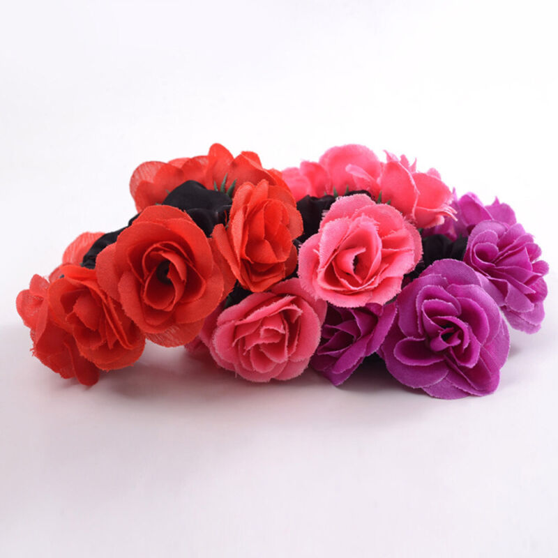 Girls Rose Flower Hair Band Elastic Rubber Hair Ties Three-dimensional Hair Rope 5