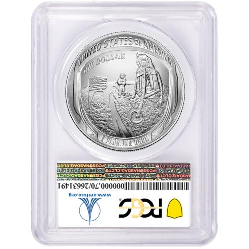 2019-P UNC $1 Apollo 11 50th Ann Silver Dollar PCGS MS70 FDOI Apollo Label 2