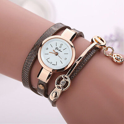 2016 Fashion Womens Ladies Watch Stainless Steel Leather Bracelet Wrist Watches 2