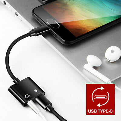 2in1 USB Type-C to 3.5mm Headphone Jack Adapter AUX & Sync Data Charge Cable 7
