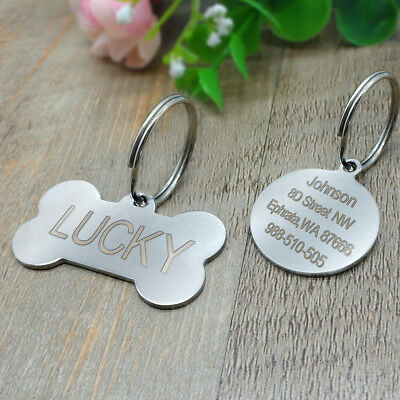Engraved Pet Dog Tags Custom Cat ID Name Tags for Pets Personalized FREE S M L 6