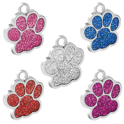 Personalized Dog Tags Engraved Cat Puppy Pet ID Name Collar Tag Bone/Paw Glitter 2