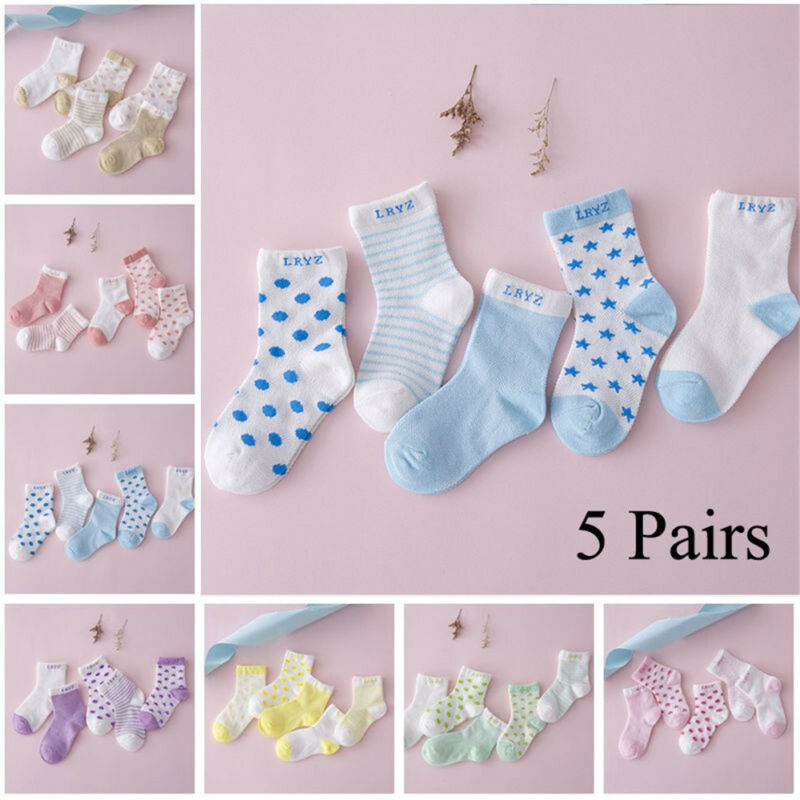 5 Pairs Baby Boy Girl Cotton Cartoon Socks NewBorn Infant Toddler Kids Soft Sock 2
