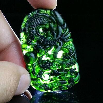 Chinese Natural Black Green Dark Jade Pendant Hand Carved Lucky Amulet Dragon 3