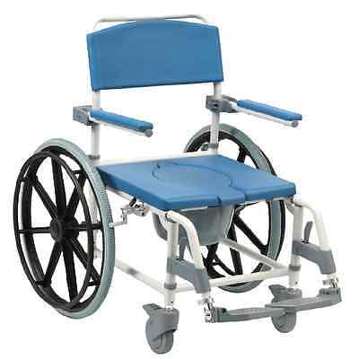 Aston Mobile wheeled shower commode chair footrests + brakes transit self propel 3