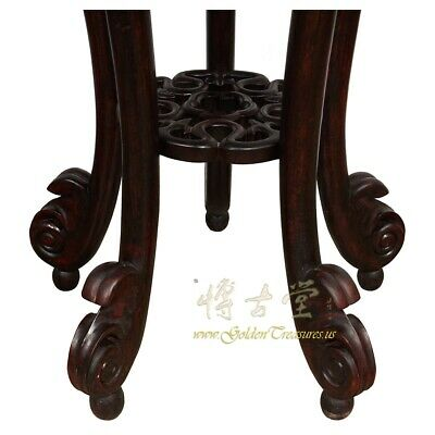 Rare Antique Chinese Rosewood Pedestal Table/Plant Stand w/MOP inlay 6
