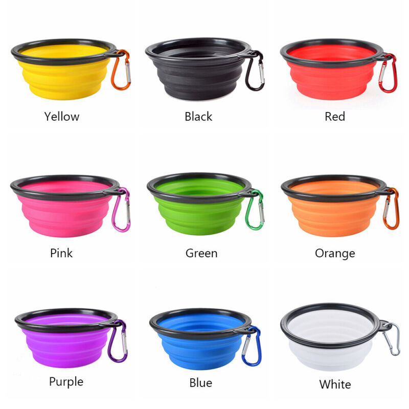 Silicone Cat Dog Pet Feeding Bowl Water Dish Feeder Travel Portable Collapsibles 3