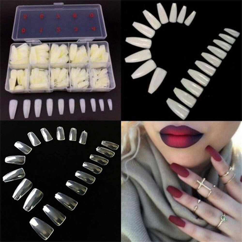 100Pcs Beauty False Ballerina Nails Full Cover Coffin Shape Nail Art Tips 4