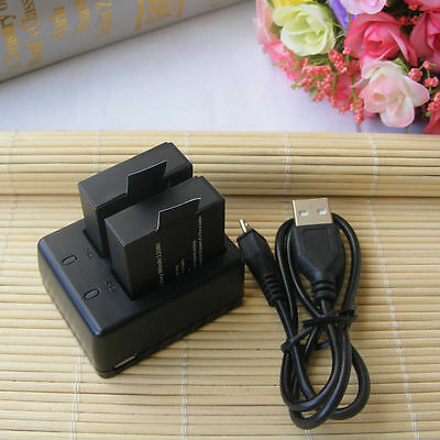 2x 3.7V 900mah Li-ion Battery + Dual Charger for SJ4000 Action Sport Cam OS480