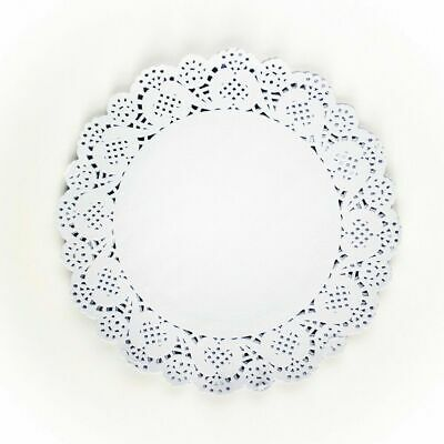 """100x 9.5""""(24cm) Round White Paper Doilies Lace Pattern Coasters Table Mats Cover 2"""