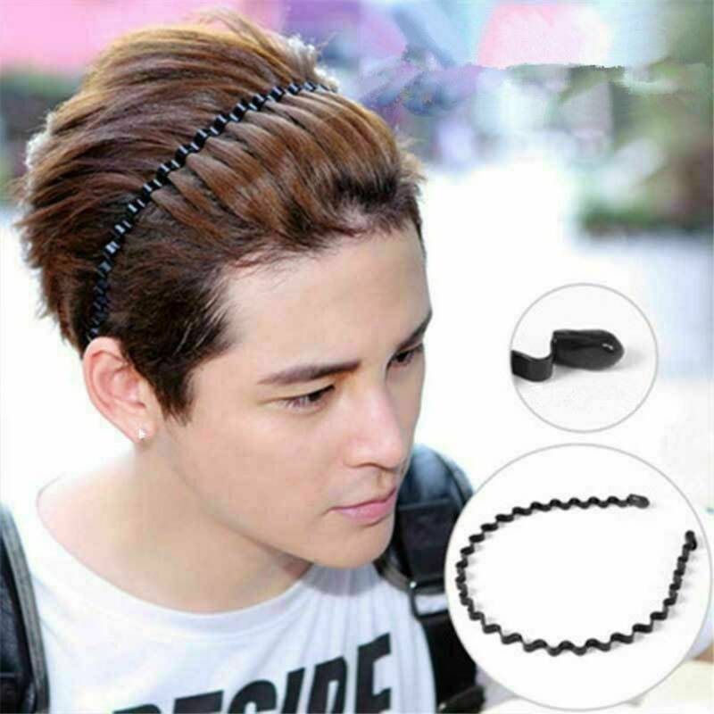 Unisex Men's Women Sports Wave Hair Band Metal Black Hairband Headband Headwear 9