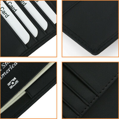 100% Genuine Soft Leather RFID Passport Visa Cover Wallet Business Card Holder 7
