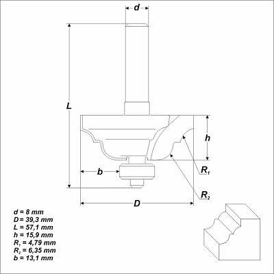 HM Fräser Schaft 8 mm (Profilfräser) Radius 4,76 mm Ø 39,3 mm zweischneidig