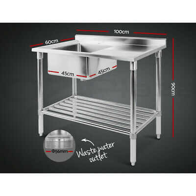 Cefito Stainless Steel Sink Bench Kitchen Work Benches Single Bowl 100x60cm 304 10