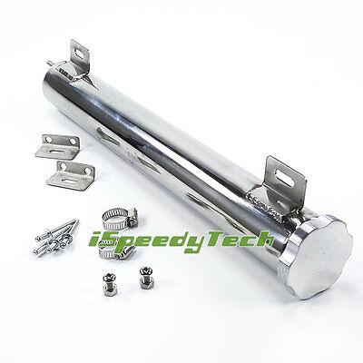 "Universal 2"" x 15"" Radiator Overflow Catch Tank 22 OZ Can Stainless Steel Polish"