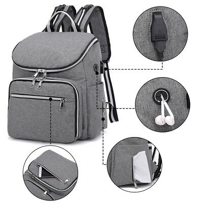Large Mummy Diaper Bag USB/Earphone Port Baby Nappy Travel Backpack Bottle Hold 5