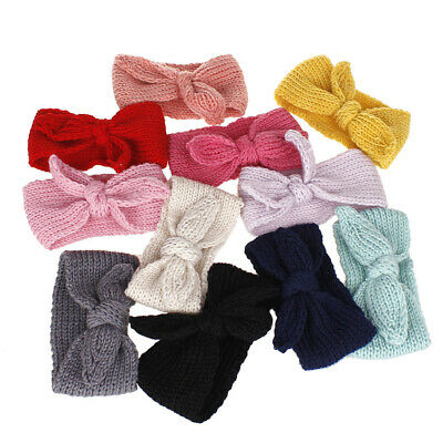 Knitted Baby Toddler Girls Kids Bow Knot Turban Headband HairBand Headwrap 0-3yr 4
