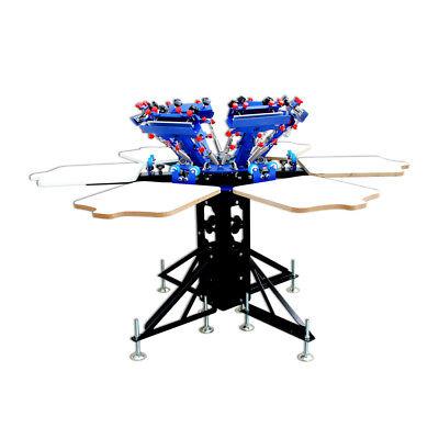 6 Color 6 Station T-Shirt Siebdruckmaschine Micro-Adjust Drehbar Maschine 3
