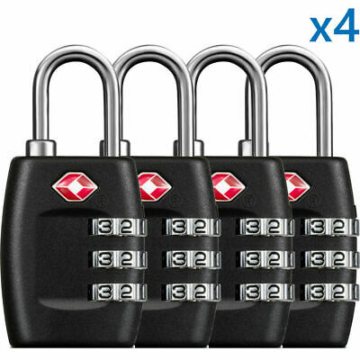 4x TSA Approved Luggage Lock Travel 3 Digit Combination Suitcase Padlock Reset 4