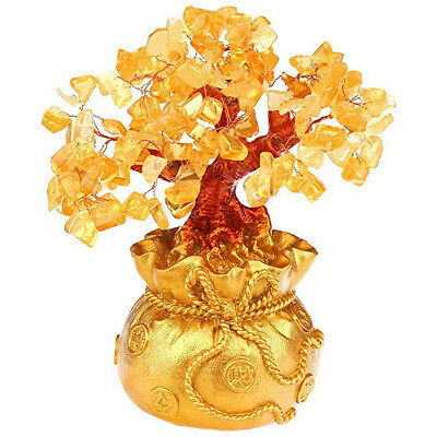 Feng Shui Money Wealth Tree Yellow Citrine Amethyst Crystal Gem Spiritual Lucky 2