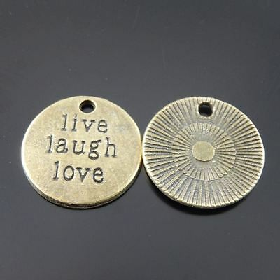 30X Vintage Style Bronze Tone Live Laugh Life Motto Pendant Charms 19*19*2mm 4