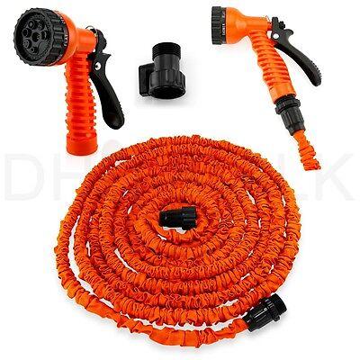 Deluxe 25 50 75 100 Feet Expandable Flexible Garden Water Hose w/ Spray Nozzle 12