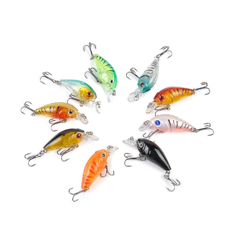 5pcs Fishing Lures Crankbaits Treble Hooks Randomly Baits Tackle Bass Minnow 2
